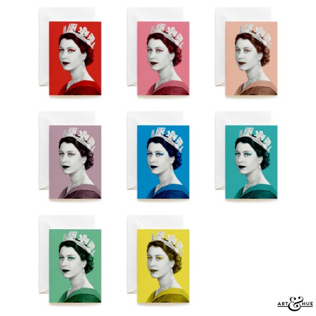 Group of 8 stylish Christmas Cards featuring Queen Elizabeth II