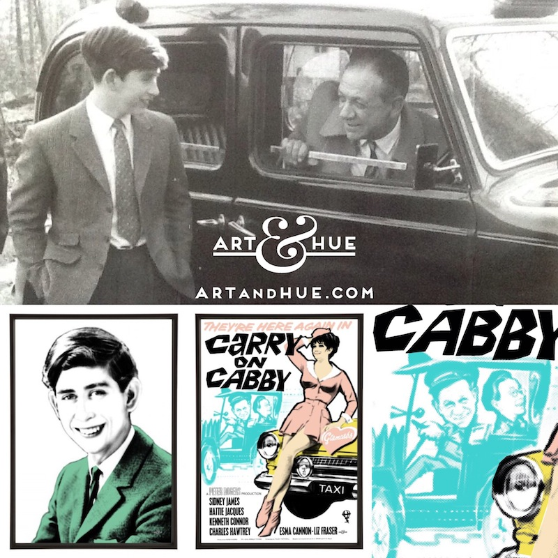 Prince Charles visiting the set of Carry On Cabby with Sid James in his taxi