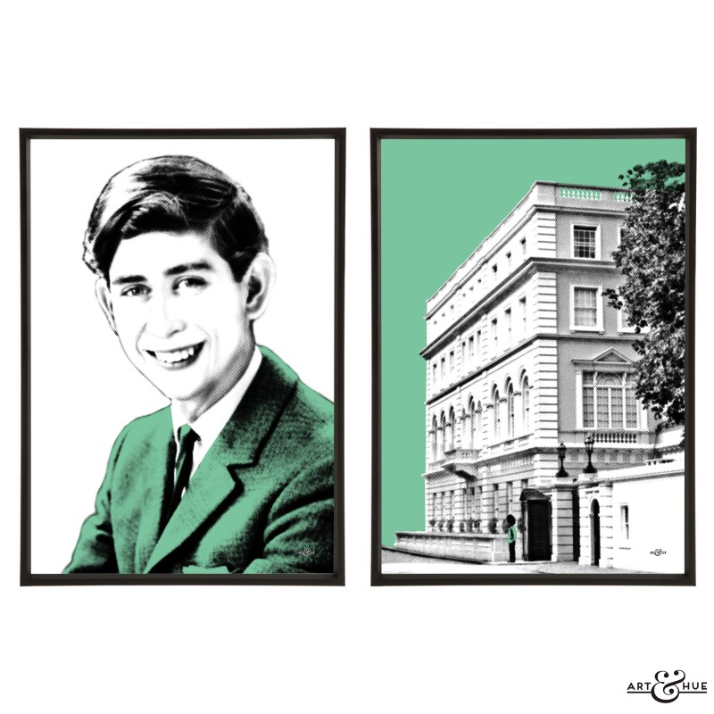 Prince Charles & Clarence House Pair of stylish pop art prints by Art & Hue