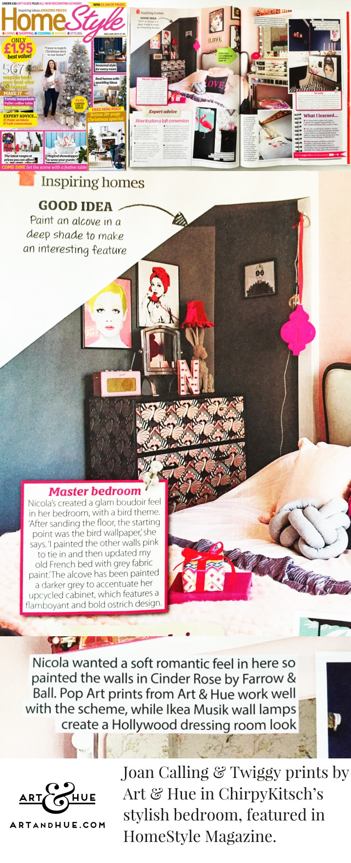 HomeStyle Magazine featuring ChirpyKitschs bedroom with Art & Hue prints