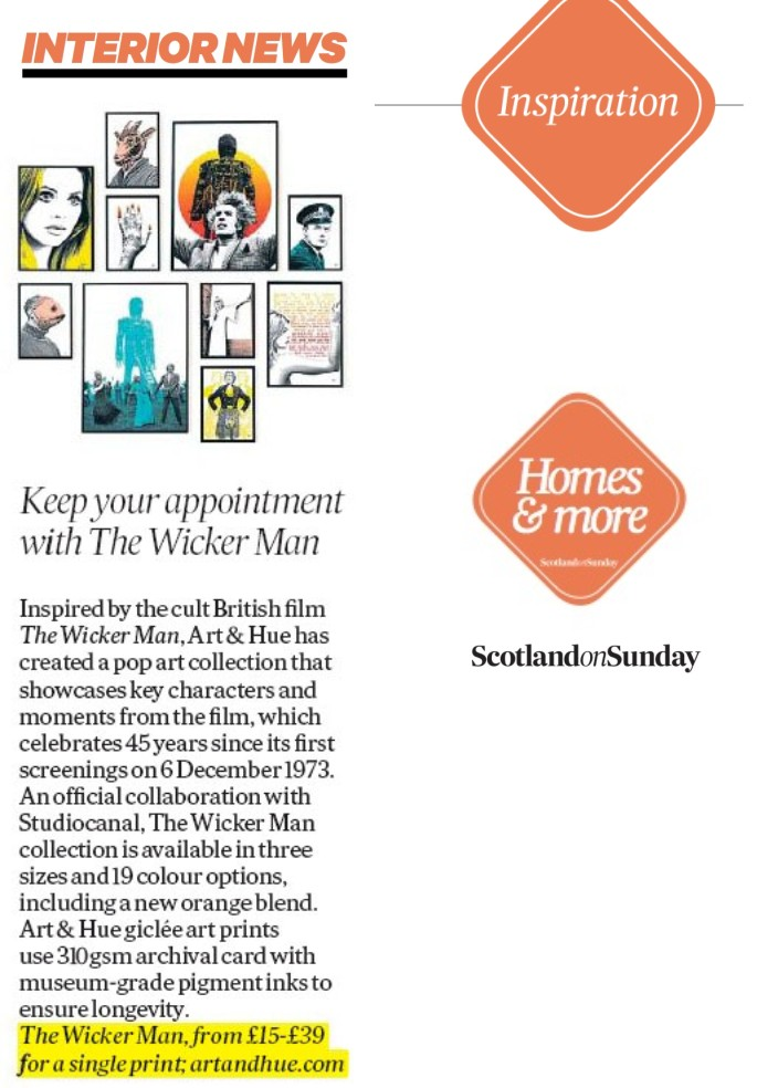 Scotland on Sunday The Wicker Man Pop Art Collection