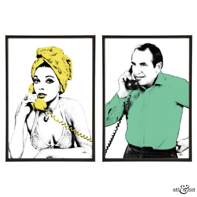 Joan Collins & Leonard Rossiter pair of pop art prints by Art & Hue