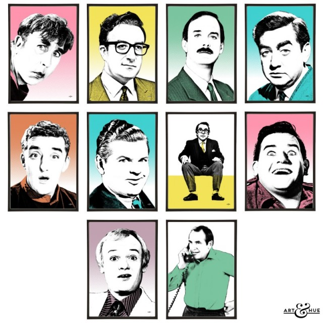 Group of 10 Funny Men pop art prints by Art & Hue