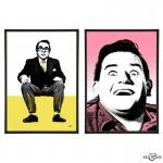 Two Ronnies Pair of pop art prints by Art & Hue