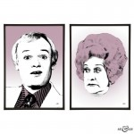 John Inman & Mollie Sugden pair of pop art prints by Art & Hue