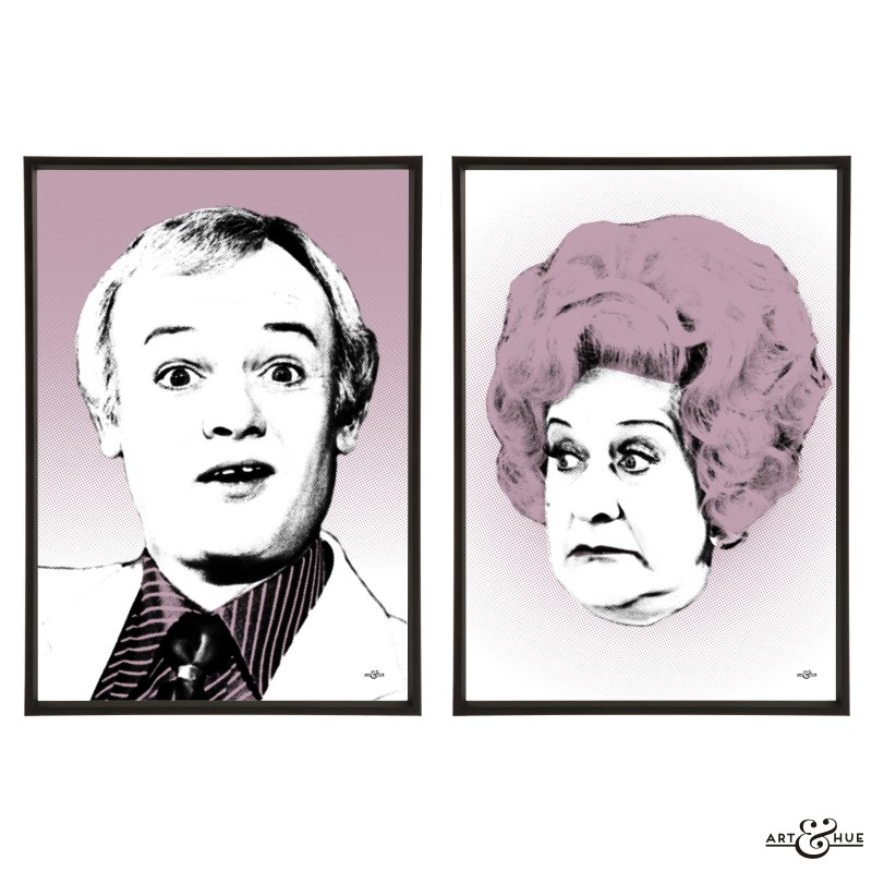 John Inman & Mollie Sugden pair of pop art prints by Art & Hue