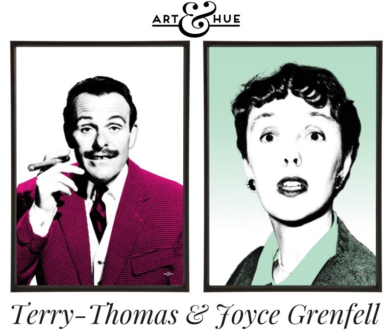 Terry-Thomas & Joyce Grenfell Pair of pop art prints by Art & Hue