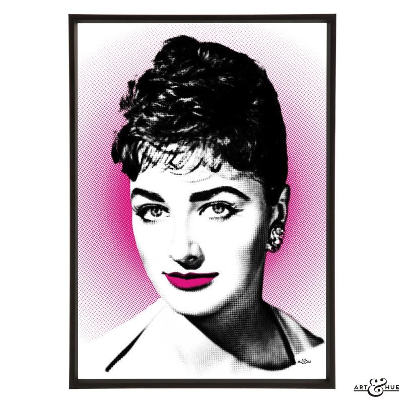 Pop art portrait of Jackie Collins by Art & Hue