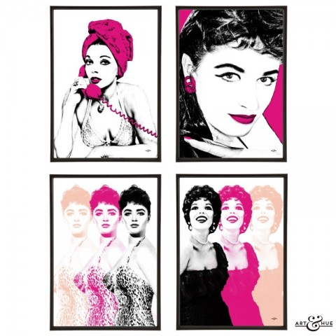 Joan & Jackie Collins Sisters Group of pop art prints