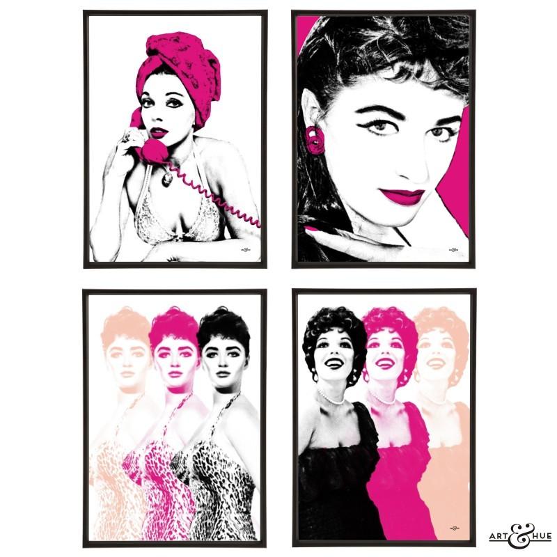 Joan & Jackie Collins Sisters Group of pop art prints
