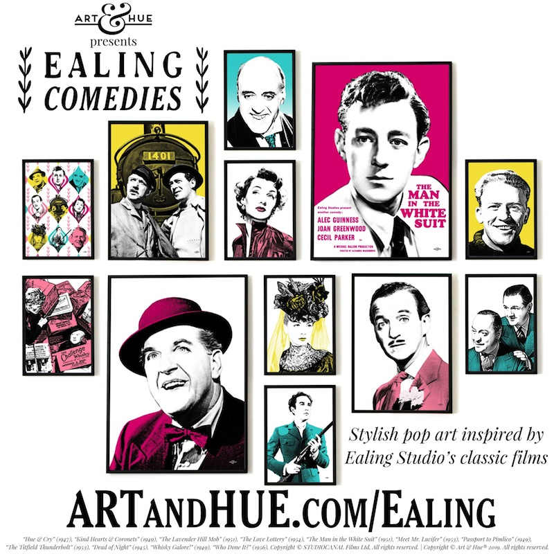 Art & Hue presents Ealing Comedies stylish pop art prints