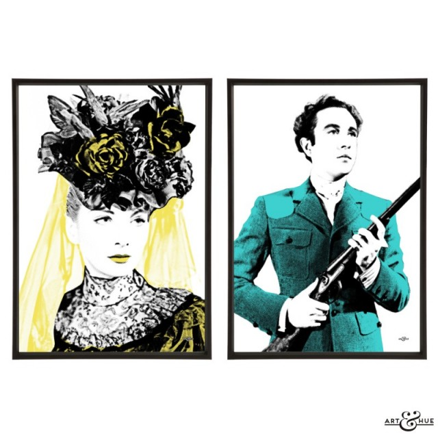 Kind Hearts & Coronets pair of stylish pop art prints by Art & Hue
