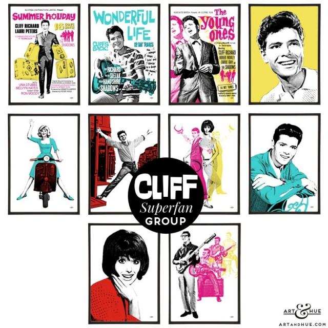 Cliff Richard group of pop art prints by Art & Hue