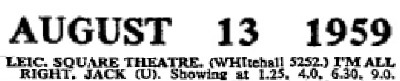 Cinema listing 60 years ago for I'm All Right Jack