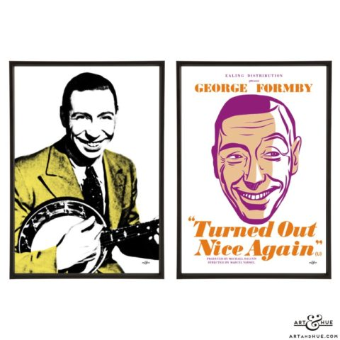 George Formby Pair of pop art prints by Art & Hue