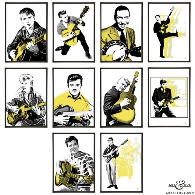 Guitars group of pop art prints by Art & Hue