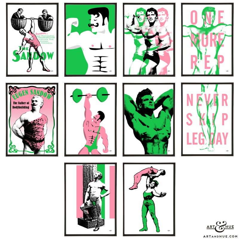 Gym Bodybuilding Group of pop art prints by Art & Hue