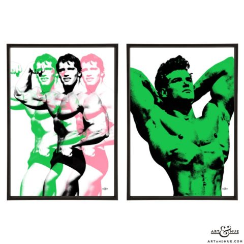 of bodybuilding icons Arnold Schwarzenegger & Steve Reeves Movie Muscle Pair