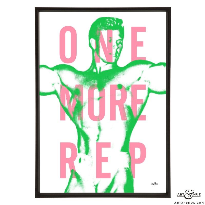 One More Rep stylish & motivational pop art print by Art & Hue