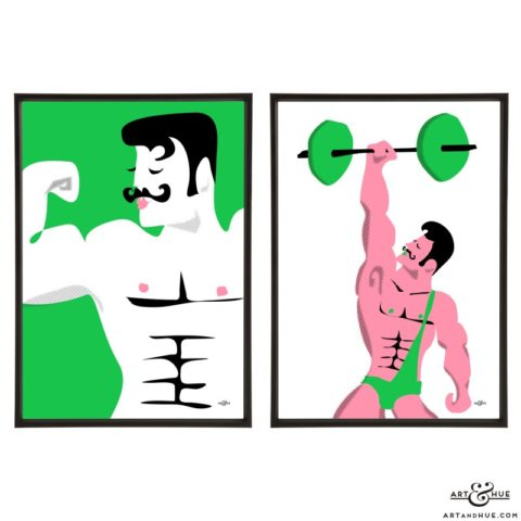 Strongmen Pair of stylish pop art illustrations by Art & Hue
