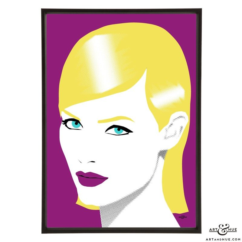 Amber Valletta stylish pop art print illustration by Art & Hue