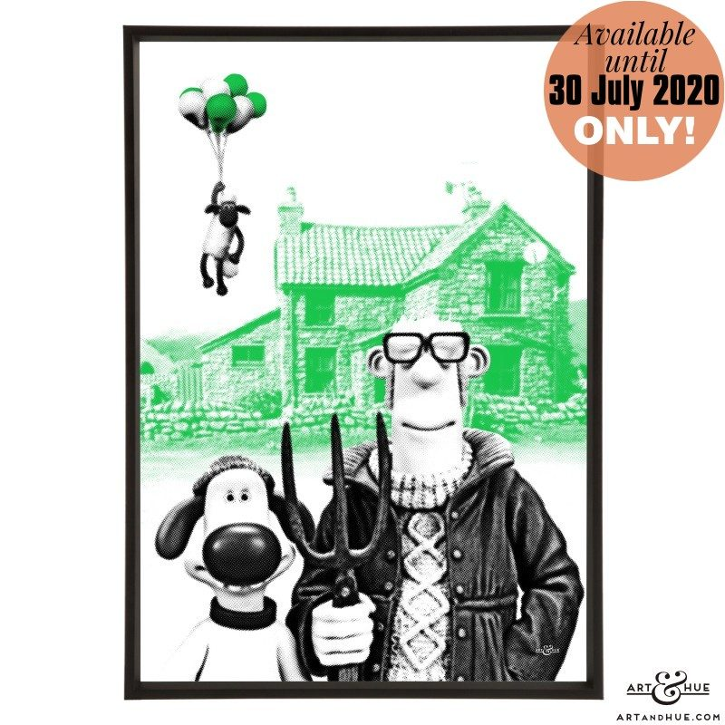Shaun the Sheep Bitzer and the farmer stylish pop art print by Art & Hue with Aardman