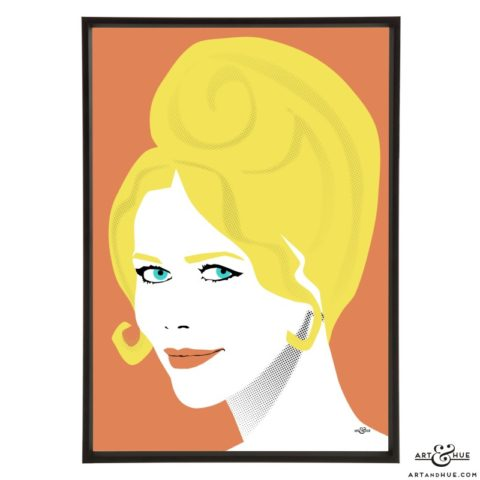 Claudia Schiffer stylish pop art illustration by Art & Hue