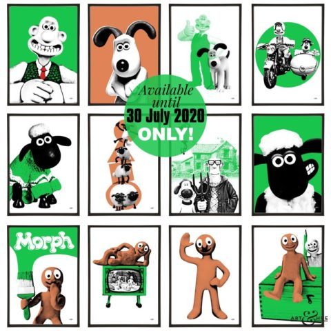 Aardman stylish pop art prints by Art & Hue