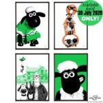 Shaun the Sheep stylish pop art prints by Art & Hue with Aardman