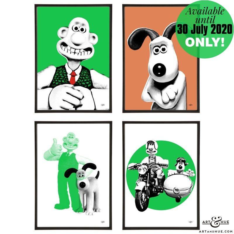 Wallace & Gromit stylish pop art prints by Art & Hue with Aardman