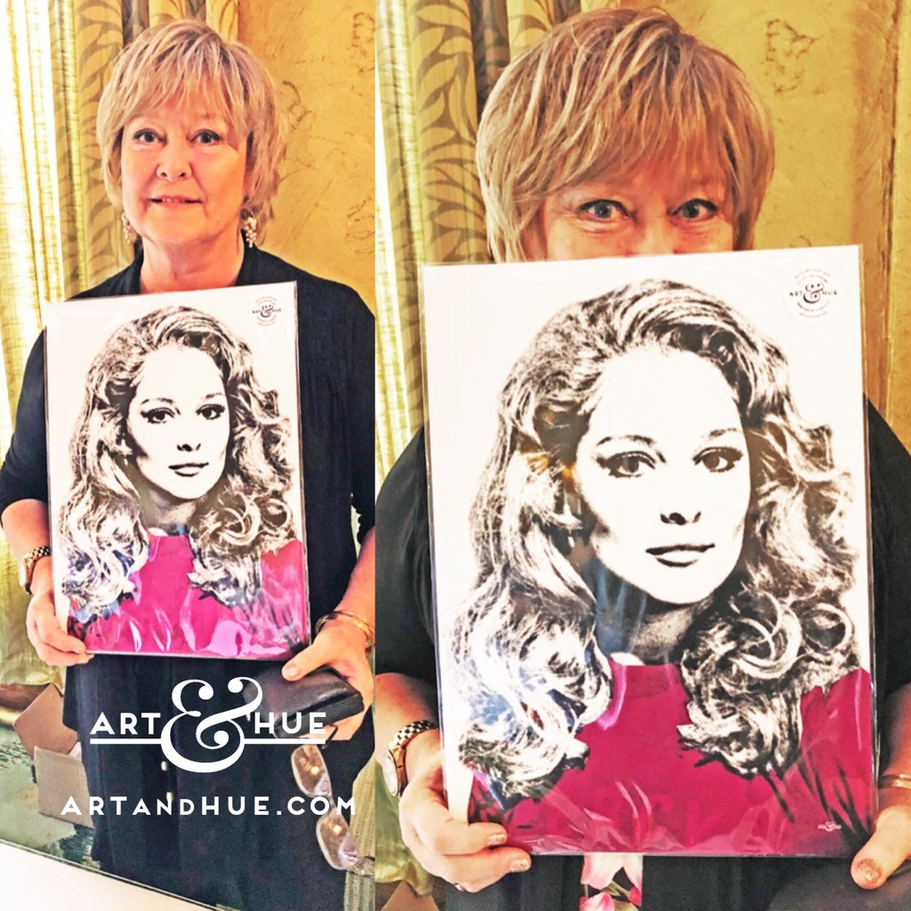Jenny Hanley with the pop art of herself at the Talking Pictures Renown Film Festival