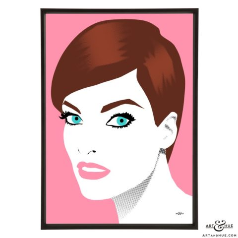 Linda Evangelista stylish pop art illustration by Art & Hue