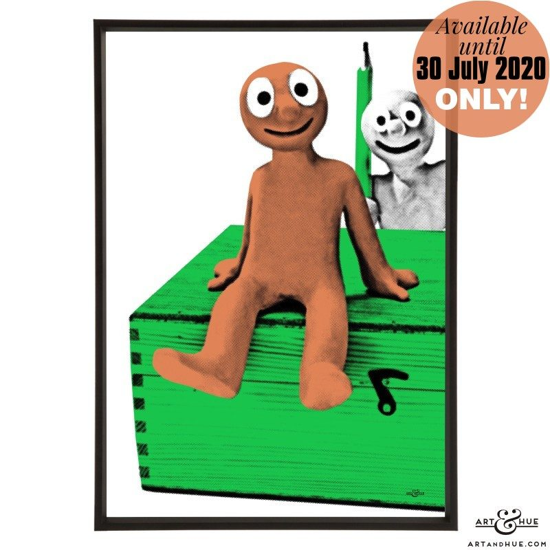 Morph and Chas stylish pop art print by Art & Hue with Aardman