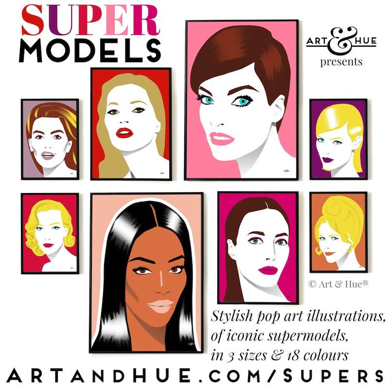Supermodels pop art collection by Art & Hue