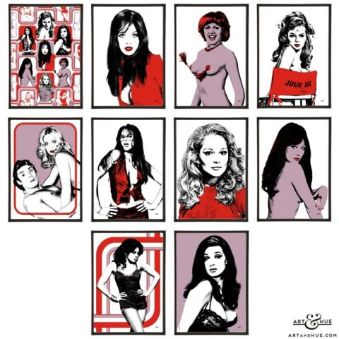 Saucy Seventies group of pop art prints by Art & Hue
