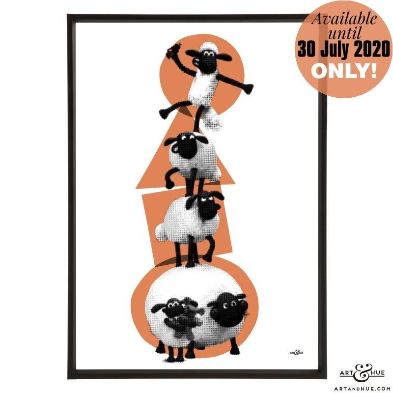 Sheep Stack stylish pop art print by Art & Hue with Aardman