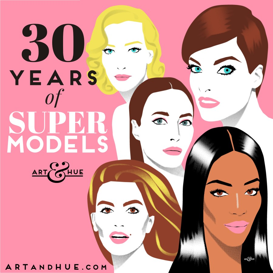 30 years of Supermodels pop art by Art & Hue