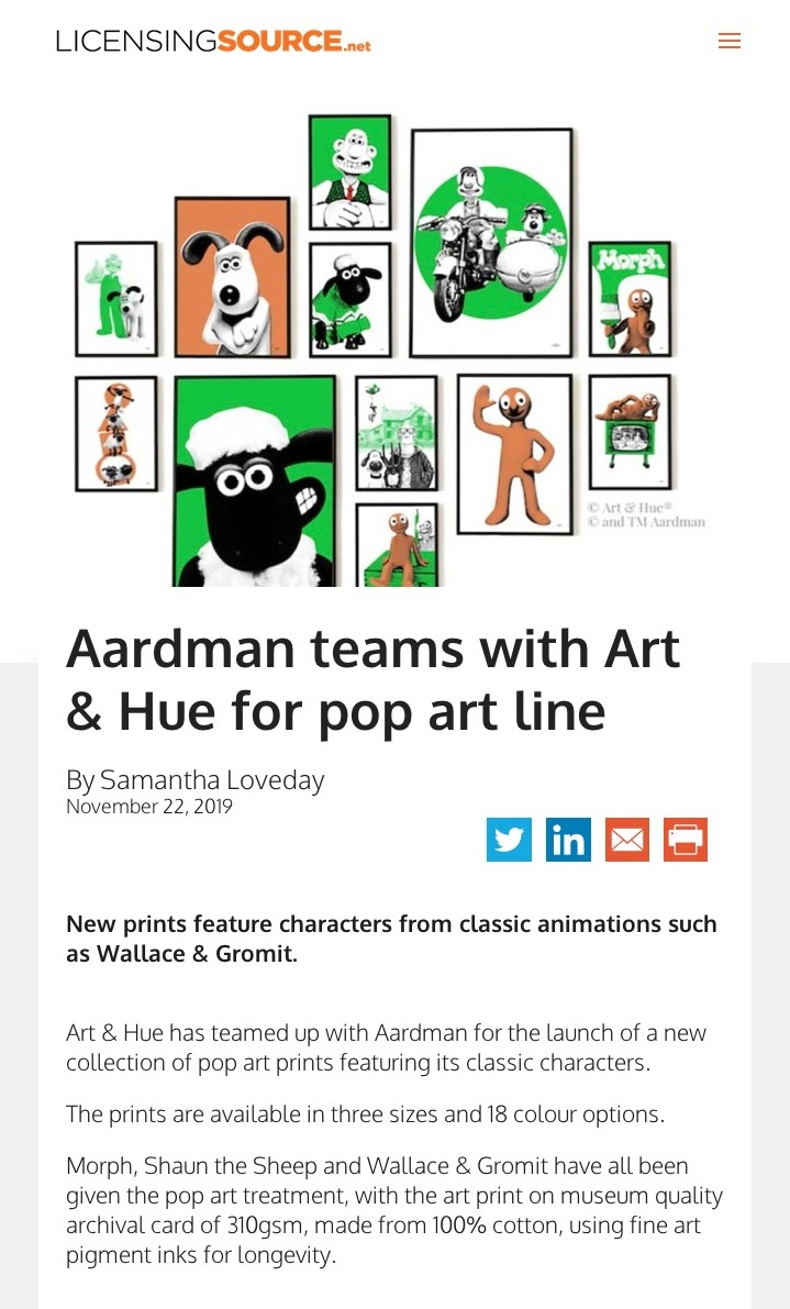 Licensing Source Aardman pop art collection by Art & Hue