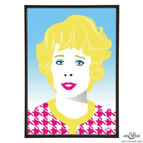 Celia Imrie pop art illustration print by Art & Hue