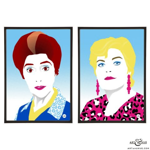 Walford pair of Eastenders soap queens June Brown & Pam St Clement pop art prints by Art & Hue