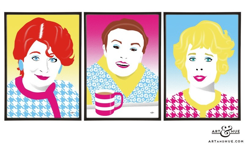 Manchesterford trio of Acorn Antiques soap icons prints by Art & Hue