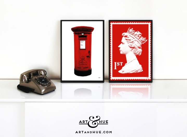 Postal Pair of Stylish Pop Art Prints by Art & Hue