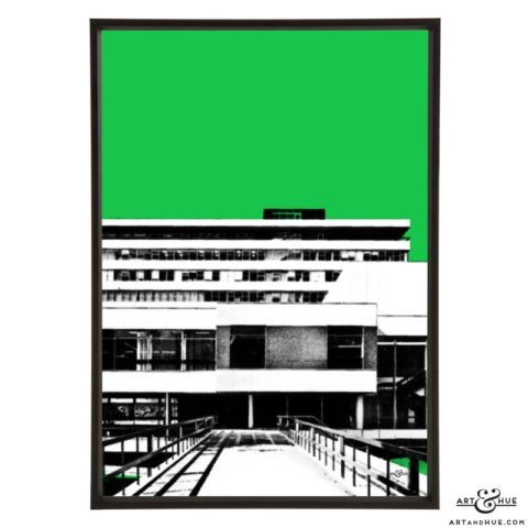 Pebble Mill Birmingham pop art print by Art & Hue