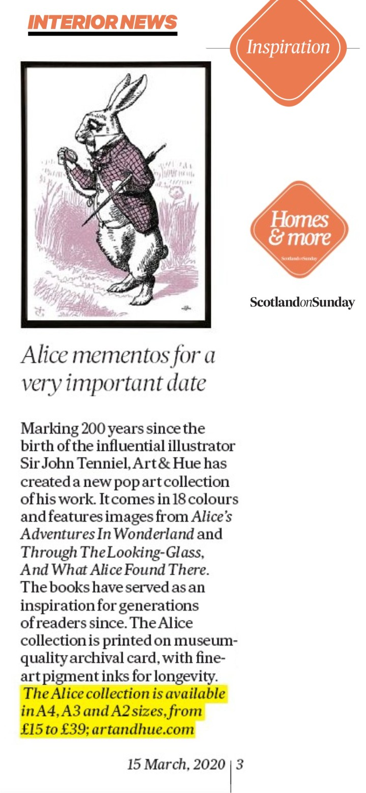 Scotland On Sunday Interiors Alice Tenniel News