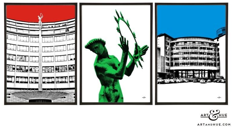 Television Centre Trio of pop art prints by Art & Hue