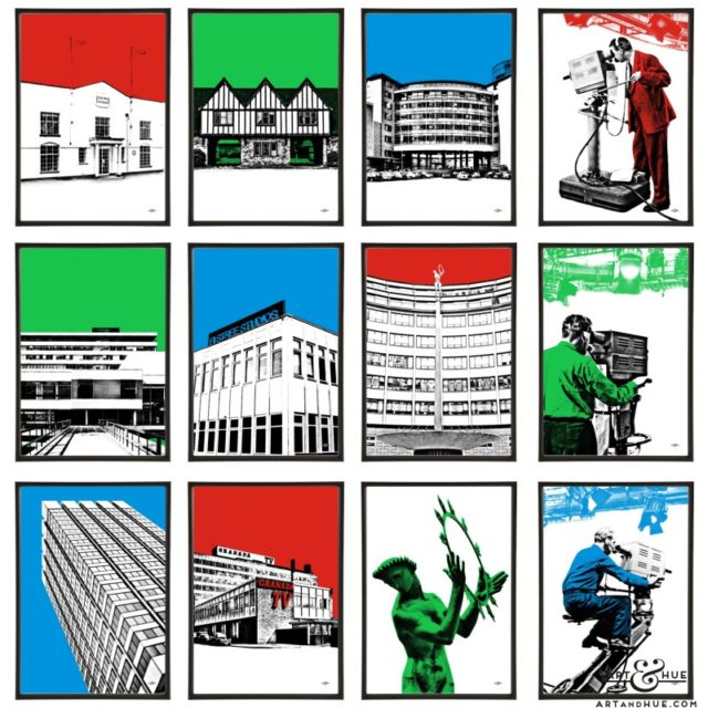 Studios group of twelve pop art prints by Art & Hue