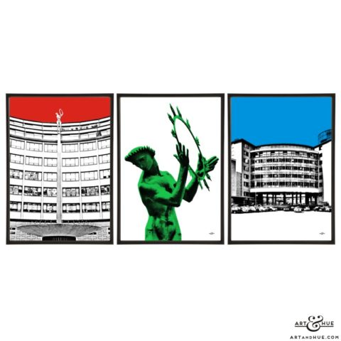 Television Centre trio of stylish pop art prints by Art & Hue