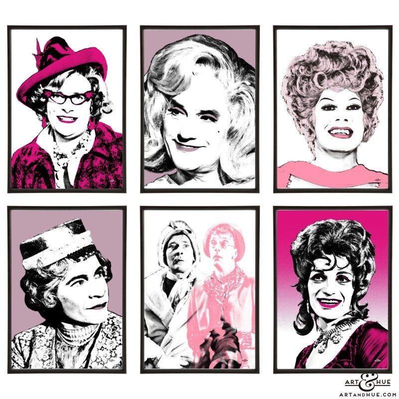 Drag Icons group of six pop art prints by Art & Hue
