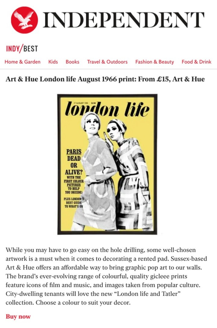 indyBest Independent London Life print by Art & Hue