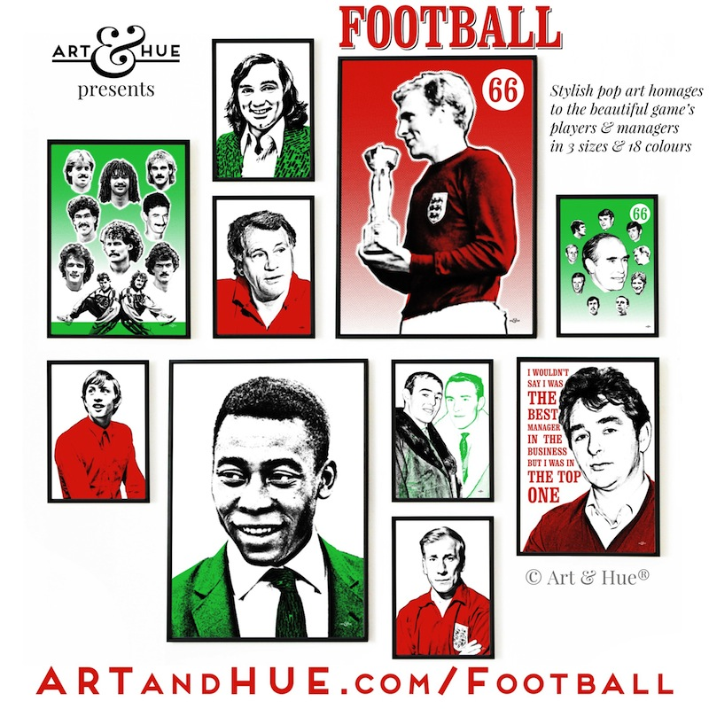 Art & Hue presents Football stylish pop art prints in homage to players & managers